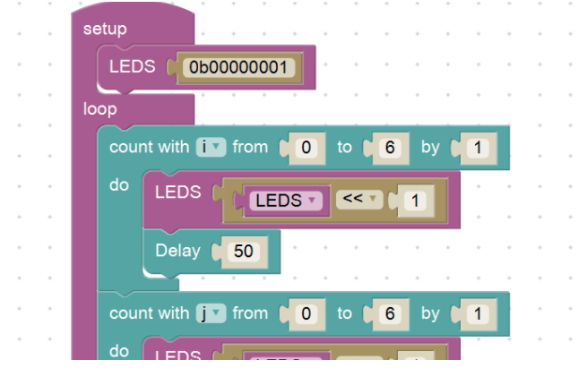 We use Dwenguino Blockly to program a robot by putting blocks in the right order.